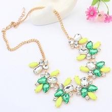 Geometric crescent necklace tribal ethnic style jewelry retro metal bubble clusters pendants, Bohemia resin rhinestone necklace(China (Mainland))