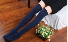 New 2015 Fashion Cute Women Knit Over Knee Thigh Stocking High Pantyhose Tight(China (Mainland))