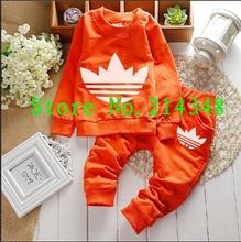 2014 free shipping Fashion girls boys clothes baby sets children clothing long sleeve T-shirt +pants kids suit kids clothing(China (Mainland))