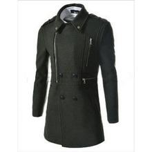 Mens Wool Jackets Long Sleeve Mens Trench Jackets Zipper Turn-down Collar Casual Outdoor Windproof Jackets Coats Wholesales(China (Mainland))