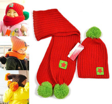 Free Shipping Five-pointed Star Knitted Cap + Scarf 2 Pieces Price Children Hats Christmas Gift m38(China (Mainland))