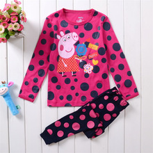 Free Shipping 2014 New Baby Wear Girls Peppa pig Pajamas Children's Cartoon Pyjamas Suits Kids Printed Sleepwears Home Clothing(China (Mainland))