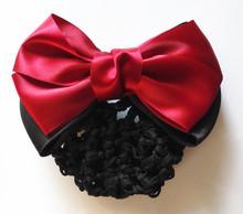 (6 Colors) Satin Lady Bow Hair Bun Net Snood Crochet Net Bun Hair Cover Women Hair Accessories(China (Mainland))