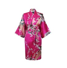 Hot Sale Sky Blue Female Satin Polyester Robe Chinese Floral Bath Gown Classic Casual Nightgown Size S M L XL XXL XXXL(China (Mainland))