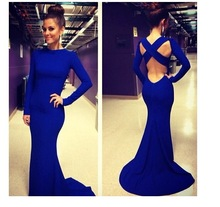 2014 Summer Women Hollow Out Bodycon Dress sexy High Waist Backless fishtail party Floor-Length dress sexy Club bandage dress(China (Mainland))