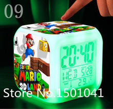 Super mario bros Alarm Clock  dolls Digital action toy figures Thermometer Night Colorful supermario Glowing toys(China (Mainland))