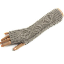 5 Colors lady Long Fingerless warm Mitten /long gloves/wrist cover /arm cover / Modified Half glove with exposed fingers H6630 P(China (Mainland))