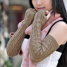 Ultra long ! mix match rabbit wool flower arm sleeve ultra long paragraphs knitted gloves(China (Mainland))