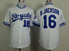 Free Shipping 2015 Kansas City Royals #16 Bo Jackson Cool Base Baseball Jersey Men's Embroidery logo High Quality Jersey(China (Mainland))