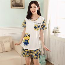 2015Hot selling summer Women man cartoon pijama couple pajamas sets Male Female sleepwear Minions lovers leisure home clothes 85(China (Mainland))