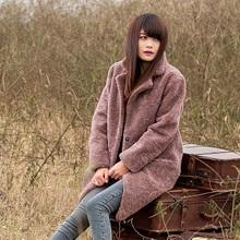 Sale--Statehood 2014 fur berber fleece one piece medium-long fur overcoat outerwear female(China (Mainland))