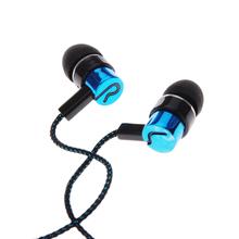 Metal Earphones Jack Standard Noise Isolating 1.1M Reflective Fiber Cloth Line 3.5mm Stereo In-ear Earphone Earbuds Headphones(China (Mainland))