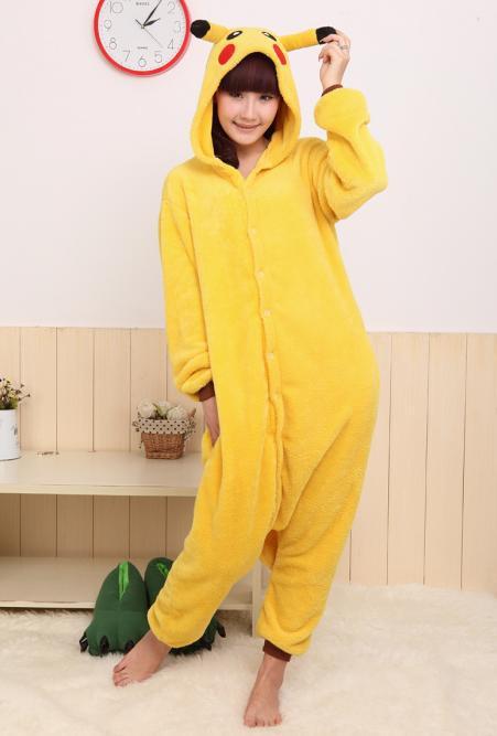 Японские Аниме kigurumi pokemon pikachu косплей костюм пижамы размер ... 4d56cfb305579