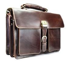 New Style Vintage Genuine Leather Men Business Handbag Briefcase Cowhide Messenger Shoulder bag Crazy Horse Tote Laptop Bag 1031(China (Mainland))