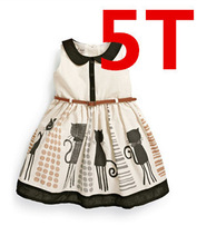 2015 new arrival summer girls dresses with cat design , brand print girls dress with belt  for 2~7 children wear kids time(China (Mainland))