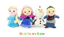 Frozen Finger Puppet Frozen Anna Else Kristoff Olaf Finger Dolls Stuffed Toys Baby Toys  Plush 4pcs/set part  Free shipping(China (Mainland))