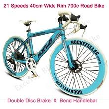 "52"" Inch 700C Rode Bike 21 Speeds 40MM Wide Rim Double Disc Brake 70 Spokes Flat Tire Bend Handlebar Road Bicicleta Road Cycling(China (Mainland))"