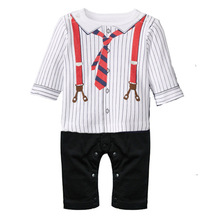 2015 new hot fashion Children's clothing  baby exclusive tie  jumpsuit boy gentleman bow  leisure Rompers(China (Mainland))