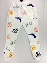 2015 new arrive Girl/women Emoji joggers pants print cartoon gym running sport Hip Hop sweatpants autumn/winter jogging trousers(China (Mainland))