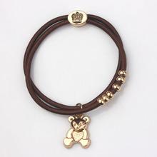 Bear Charms Bracelets Women Strong Elastic Black Rope Heart Elephant Rose Key 18K Gold Crown & Hair Rope Lead Nickel Free Gift(China (Mainland))