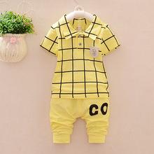 50%OFF Kids Summer Clothes Set Baby Boy Clothing Set Plaid Vest Tie Tshirt + Shorts Pants Gentleman Suit Casual Wear(China (Mainland))