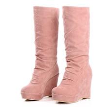2014 recién llegado de matorral botas gaotong zapatos de mujer zapatos de plataforma tacones altos cuñas plataforma , además de terciopelo nieve botas zapatos de plataforma(China (Mainland))