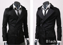 HOT CHIC MENS CASUAL DOUBLE BREASTED TRENCH COAT SLIM FIT(China (Mainland))