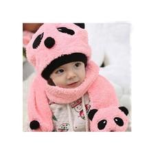 Super Cute And Warm Children Wool Panda Cap Match Scarf Cartoon Hat with Scarf(1Set =1 Cap+ 1 Scarf) fast shipping b14 18499(China (Mainland))