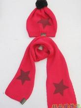 Free Shipping Knitting Cotton Korea Stars Printing Scarf&Hat Set/Kids Keep Warm Muffler Cap/Infant Cap/Beanie Hat/Set Head Cap(China (Mainland))