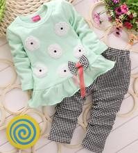Autumn Spring Children Girl Long SLeeve Clothing Set Heart Flower Bowknowt Cute 2PCS Clothes Kids Twinset  T shirt+Pants Legging(China (Mainland))
