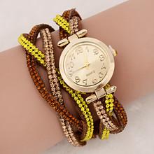 9 colors ladies luxury rhinestone wrap bracelet quartz wristwatches women dress watches relogio feminino 2015 montre femme WQ047(China (Mainland))