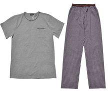 Mens summer\spring cotton short sleeve home\sleepwear hombre\male plus size plaid striped pyjamas\pijams\pajamas sets for man()