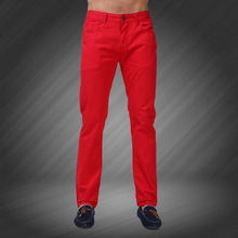 2015 New Men Jeans Candy Colors Solid Slim Fit Zipper Masculina Skinny Straight Leg Casual Fashion Jeans Plus Size 28-36 Y1018(China (Mainland))