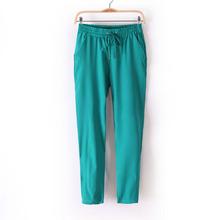 Hot Sale New 2014 Brand Casual Women Pants Solid Color Drawstring Elastic Waist Comfy Full Length Chiffon Harem Pants W4156B(China (Mainland))