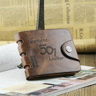 10styles,Special promotion Free Shipping men's wallet & fine bifold Brown Genuine leather top purse wallet for men wholesale(China (Mainland))