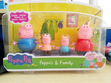 4pcs/lot Peppa Pig Toys Family Set Plastic Peppa Pig Toys George Pig Family Baby Kid Toy Birthday Gift Free Shipping(China (Mainland))