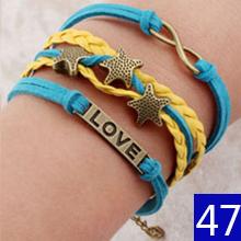 Vintage Braided Anchors Rudder bracelete Love owl best friends Leather Bracelet men jewelry heart Rope charm Bracelets for women(China (Mainland))