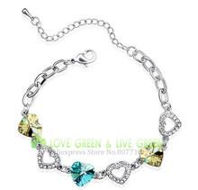 Free shipping Hotselling Factory  wholesales Price 18K GP Austrian crystal element Heart Bracelet bangle fashion jewelry 2485 AA(China (Mainland))