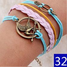 Vintage Braided Anchors bracelete best friends Leather Bracelet men jewelry heart charm Bracelets for women pulseira masculina(China (Mainland))
