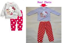 New 2014 Hello Kitty Children Baby Boys Girls Kids Clothing Clothes Sets suits pant+shirt sleepwear cartoon long sleeve pajamas(China (Mainland))