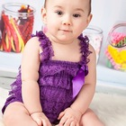 Cute Petti Baby Girl Lace Romper with Straps and Ribbon Bow Jumpsuit Infant Bodysuit 31 Colors Free Shipping(China (Mainland))