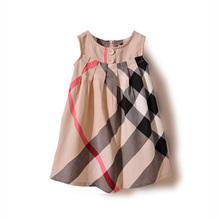 Free shipping Baby girls one-piece dress new 2014  100% cotton girl plaid dress fashion Casual dress sleeveless  dresses #6335(China (Mainland))
