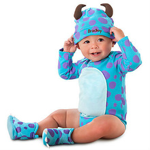 Free Shipping New 2014 Cartoon Cotton Baby Romper Children Clothing Kids Clothes Hat Body Set(China (Mainland))