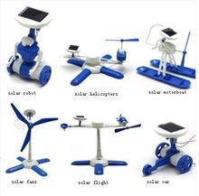 Children's DIY solar toys Plastic 6 in 1 educational solar power Kits Novelty  solar robots  Child birthday gift(China (Mainland))