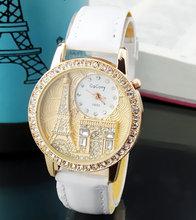 Women watches Quartz Wristwatch Gogoey Brand Luxury  Eiffel Tower Leather Watch Lady Casual fashion gold Watch relogios feminino(China (Mainland))