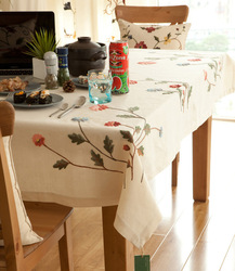 110*110cm embroidery linen cotton embroidery table clothcoffee table runner cloth dining table cloth table linen(China (Mainland))