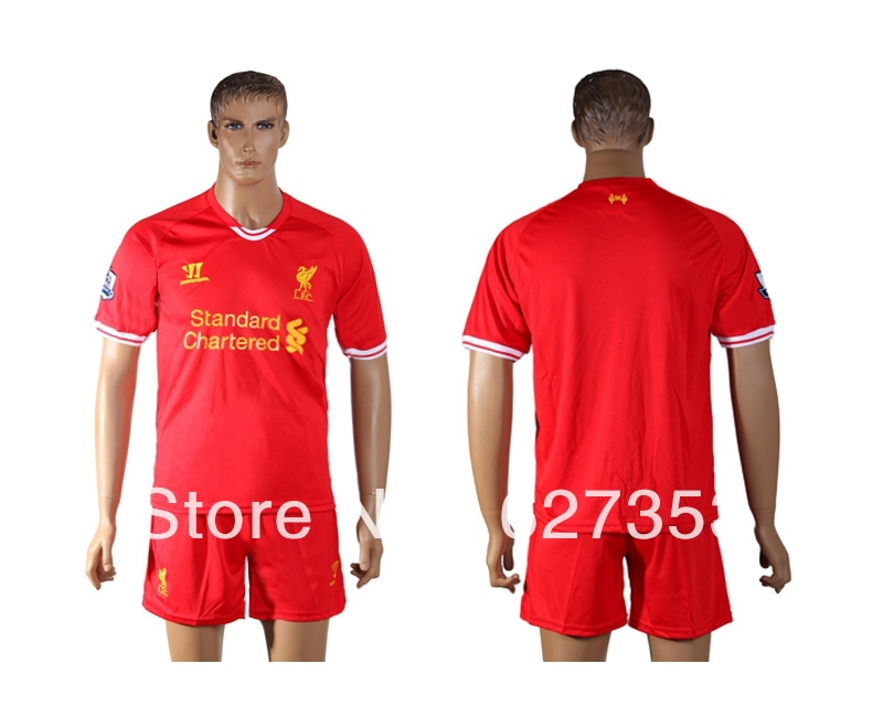 Wholesale !!! 2014 Liverpool home soccer jersey with embroidery logo,Liverpool 13/14 red football shirt ,best thai quality.(China (Mainland))