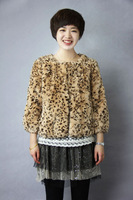 Free shipping 2013 Brand New Rabbit fur Jacket 100% Natural Rabbit fur Coat In stock leopard Fur Coat Short Fashion