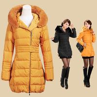 2013 women Winter outerwear medium-long  fashionslim rabbit fur down coat  black and yellow free shipping