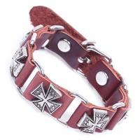 Rivet bracelet genuine leather bracelet antique cross bracelet vintage accessories bracelet accessories